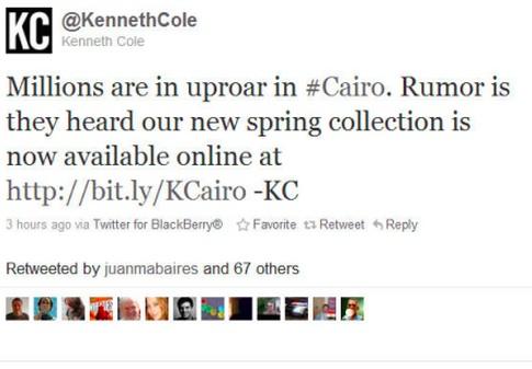 Kenneth Cole Cairo Tweet