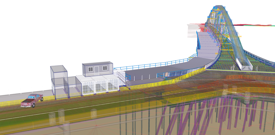 "Isoisänsilta (""Grandfather's bridge"") connects residential Kalasatama to the recreational island of Mustikkamaa in Helsinki. This is how it looks as a Tekla model."